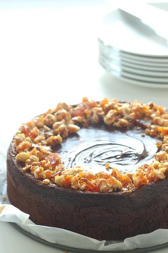 chocolate mousse cake with hazelnut praline