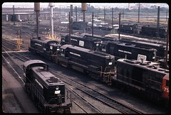 Hanging at the Cedar Hill Engine Yard, 1971 (brooklynparrot) Tags: 1971 trains 1970s ge locomotives railroads alco emd penncentral