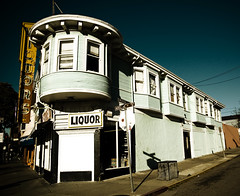 Black and White Liquors (andrewallenmoore) Tags: white black building sign berkeley neon liquors ashby