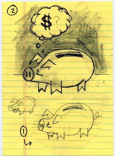 piggy bank illustration sketches