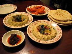 hummus, babaganoush, and spicy carrots w/ pita...