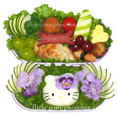 Hello Kitty lavender bento 4-18-08 (pkoceres) Tags: food flower green apple japan tomato lunch hotdog purple heart hellokitty beef cucumber stripe pansy lavender crab shrimp lettuce onigiri bento edible tamagoyaki gyoza grape meatball   eggroll  karaage icookedthis     charaben   yuchoysum