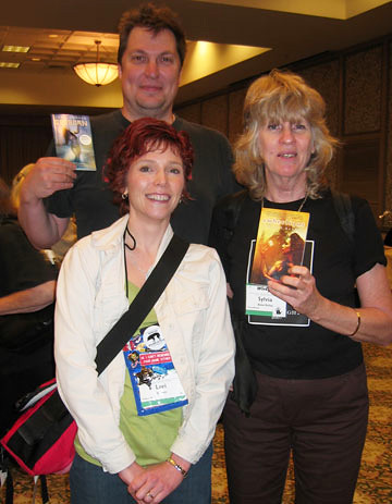 Me, Chris Howard and Sylvia Kelso at WisCon 32