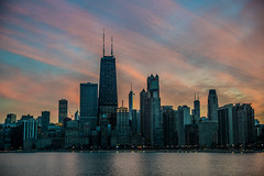 Chicago Skyline Sunset (Joshua Mellin) Tags: chicago skyline winter sunset 2017 weather weird warm records recordhigh heat pink color beautiful best reflection 3d layers layered wild amazing colors hologram holo holographic sky clouds light night