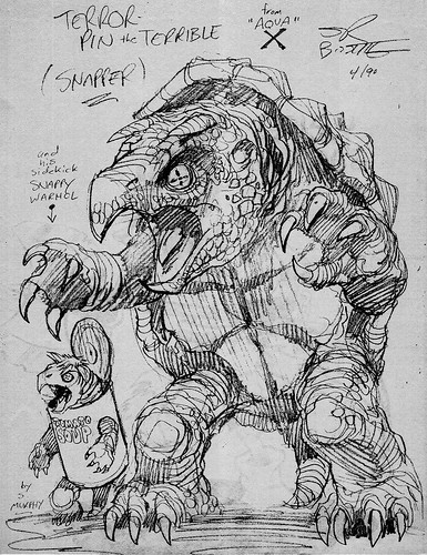 tOkKa Origins ::Terrorpin and Snappy Warhol ..created by S.R. Bissette & Steve Murphy .. { rejected Playmates Toy Design / Speculative later ' TOKKA ' in TMNT II film, Terrorpin in TMNT Mirage Comics } (( 1990 )) [[ Courtesy of R.B. ]]