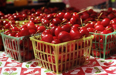 cherries (dogwelder) Tags: california red film cherries basket farmersmarket may zurbulon6 2009 studiocity 50mmprime olympusom4ti zurbulon