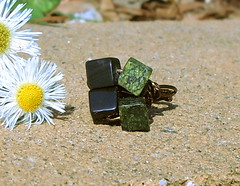 Midnight Forest Cubic Ring - 8mm Russian Serpentine Jade & Black Onyx SIZE 4 (JustinGeer) Tags: summer black green stone forest dark square four jewelry ring jade cube copper hunter