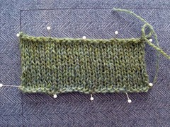 Kauni Cardigan swatch with gauge