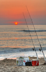 Gone Fishing (avirus) Tags: morning red sun beach sunrise fishing northcarolina pole outerbanks hdr obx