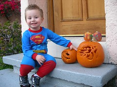 Smiling with the pumpkins