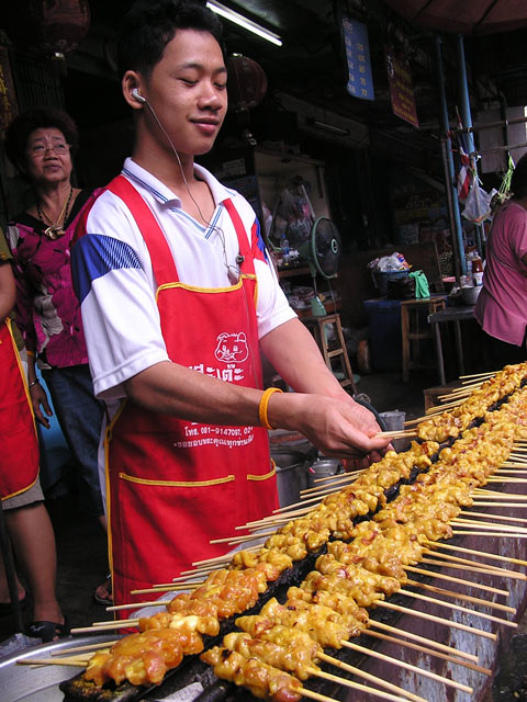 Cooking satay at nonthaburi