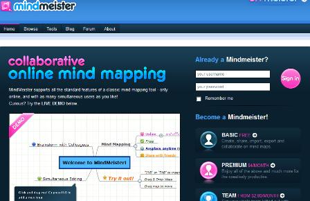 Mindmeister homepage