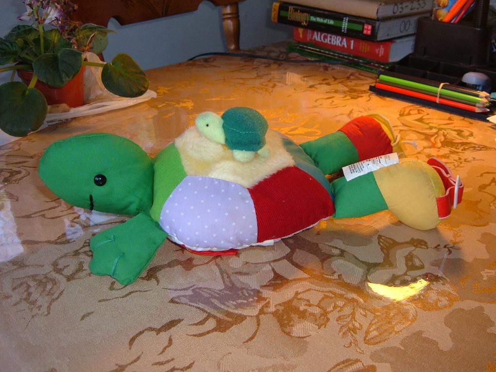 Stuffed Animal: Adorable Turtle Mama & Baby -- $4.
