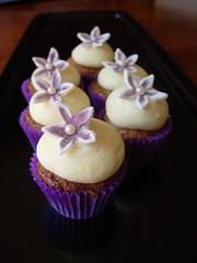 Mini Hummingbird Cupcakes (cupcaketastic) Tags: white flower cheese cupcakes engagement hummingbird purple chocolate champagne ivory creamed pearl