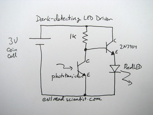 a simple and cheap dark detecting led circuit evil mad scientist diagram