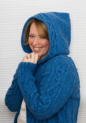 Street Smart Hoodie! (LollyKnit) Tags: blue wool hoodie sweater knitting knit yarn cables cardigan bobbles patons cottagecraft streetsmarthoodie