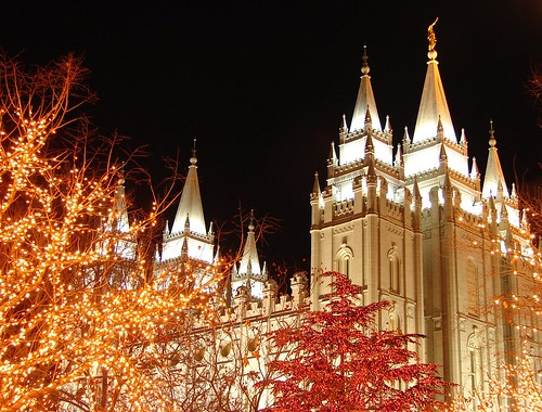 Salt Lake Temple Christmas lights