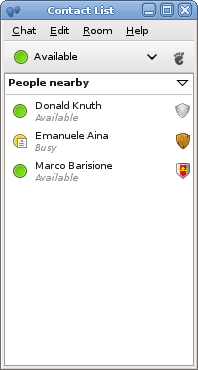 Contact list with trust levels