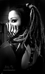 """Hidden Promises"" (ashleyfay22) Tags: girl fetish eyes mask stripes gothic fishnet bondage synth dreads"