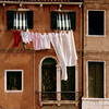 Green shutters and clothes line