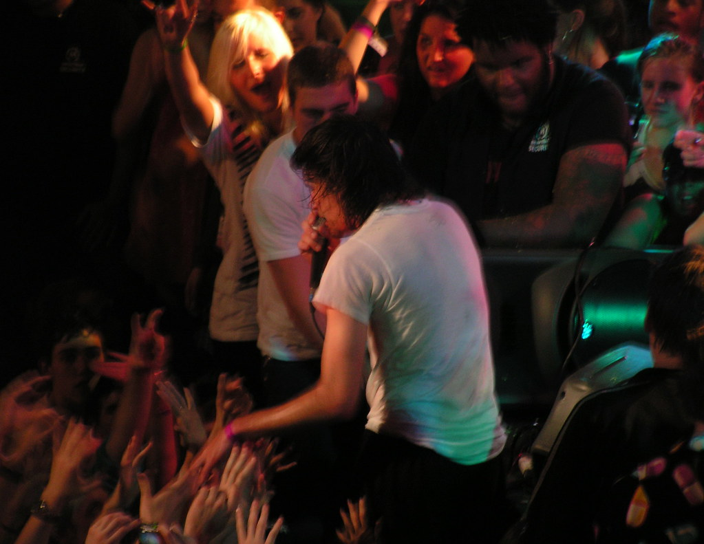 talking to Girl Talk during the set