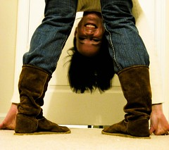 28/365 (insatiable73) Tags: brown silly smile leather happy upsidedown boots 4 365 kickin insatiable73