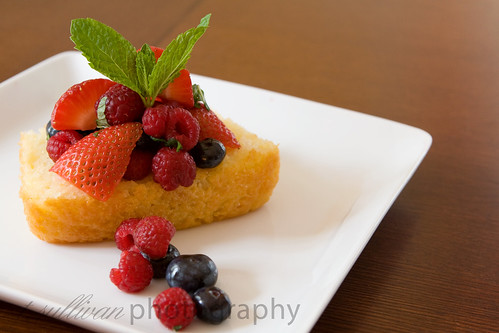 Mixed Berries with Limoncello on Lemon Yogurt Cake