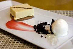 White Chocolate Parfait, Rhubarb Gel, Creme Fraiche Sorbet