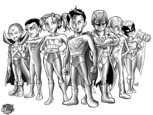 Justice League Kids b/n