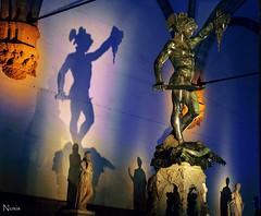 Perseus (Nuxis [Davide]) Tags: blue italy art yellow statue bronze night lumix lights florence italia shadows arte nightshot blu kunst statues ombre panasonic giallo firenze luci toscana davi
