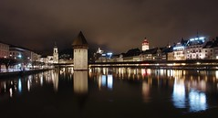 Lucerne at night (sfryers) Tags: chapel bridge kapellbrücke historic timber wooden stone tower defence lake river reuss city waterfront water night lights architecture lucerne luzern schweiz switzerland smc pentaxda 15mm 14 limited tripod gorillapod