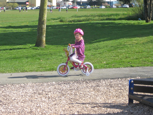 Hannah riding her new bike