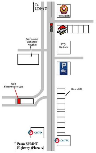 map to ss20 fish head noodles, damansara kim