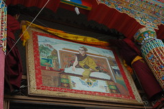 Installing portrait of His Holiness the Dalai Lama above Tharlam Monastery (Wonderlane) Tags: above nepal portrait religious path buddhist religion buddhism monastery his lama tibetan kathmandu tradition spiritual enlightenment result dalai initiation boudha holiness empowerment installing tibetanbuddhist 5655 tharlam lamdre
