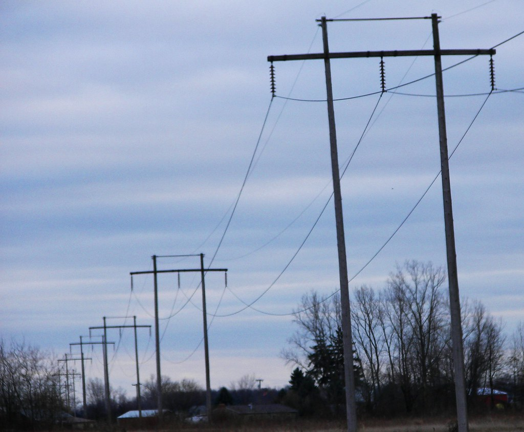 High voltage power lines a few miles from Monroe's Fermi II nuclear power plant