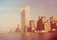 World Trade Center in the 1970s (Mr. T in DC) Tags: nyc newyorkcity newyork skyline architecture buildings lost skyscrapers manhattan worldtradecenter 911 gone explore scanned twintowers wtc gothamist 1970s destroyed lowermanhattan statenislandferry offices