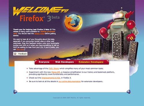 Firefox 3 Beta 2 first run page