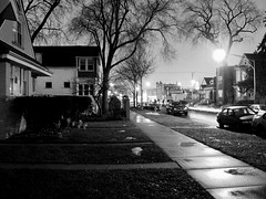 December Rain (Black and White) (EMENFUCKOS) Tags: light white chicago black rain night photography long exposure neighborhood