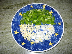 Chopped Green Peppers,Garlic and Onions/Pacific Beach/LP (Wandering Dom) Tags: california food usa french sandiego plate onions ingredients granite garlic pacificbeach greenpeppers frenchfood choppedonions granitetable choppedgarlic englishplate choppedgreenpeppers niceplate cheflepew