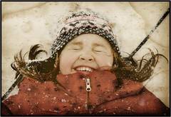 Some Things Never Change (Tara Kelly Photography) Tags: family winter snow canada girl smile laughing fun kid child antique daughter distressedtexture