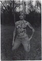 Untitled (VioletHairLeo) Tags: blackandwhite bw slr 35mm minolta bodypaint femalemodel femaleform