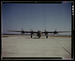 A C-87 transport plane, just off the assembly ...