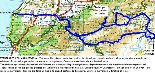 Mapa recorrido Marruecos 1 por ti.