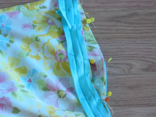 double bias tape pinned to top edge