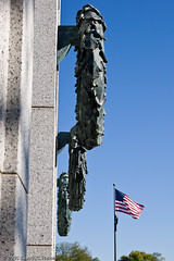 Flag flying at the National World War II Memorial (BACHarbin) Tags: people usa monument dead washingtondc dc washington districtofcolumbia military honor flags fallen sacred nationalmall soldiers remembered wreaths veterans inmemoriam sacrifice memorials courage oldglory valor flagpoles inmemoryof nationalworldwariimemorial usaflags submittedtophotoshelter nationalmallandmemorialparks