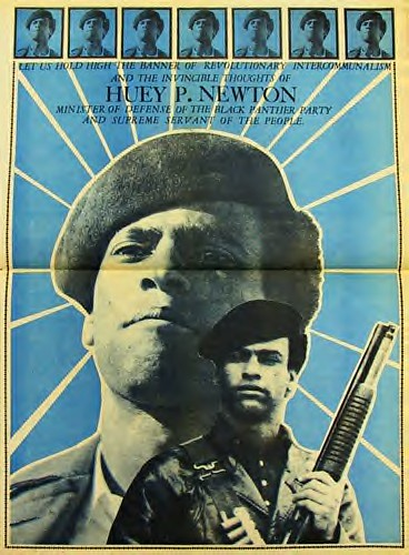Black Panther newspaper depiction of Huey P. Newton, co-founder and Minister of Defense of the Black Panther Party for Self-Defense. Feb. 17 was the 67th anniversary of his birth. by Pan-African News Wire File Photos