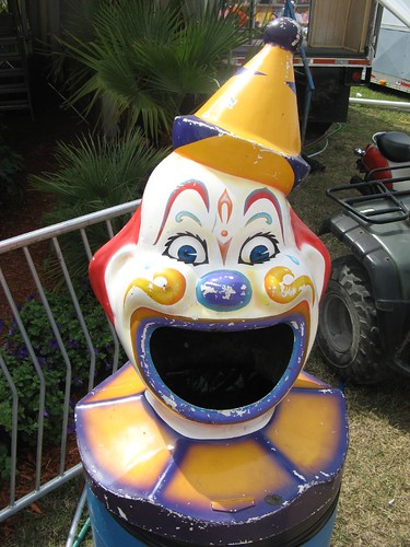 Scary clown trash can