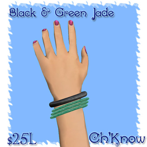 Black & Green Jade Bangles