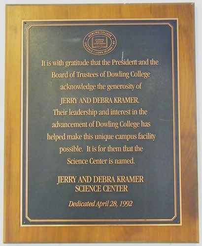 Kramer Science Center Plaque