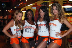 Hooters Girls looking down (BuccaneerBoy) Tags: girls hot beautiful pretty florida hooters saturday babes hotgirls ocala hootersgirls hootergirls ocalahooters